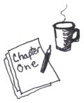 black-and-white illustration of manuscript and coffee mug
