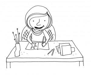 V J Hamilton at her desk